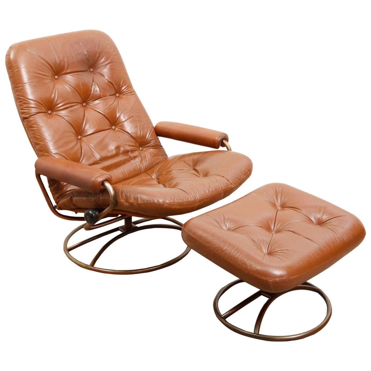 Chairs With Ottomans Bruno Mathsson Swivel Lounge Chair With Ottoman At 1stdibs