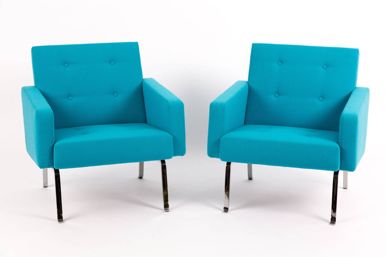 revolving easy chair with cooler artifort 461 465 serie of dutch design in blue wool at 1stdibs
