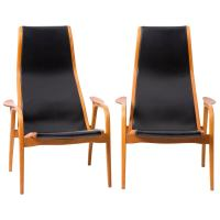 Swedish Lamino Swedese Teak and Leather Chairs at 1stdibs