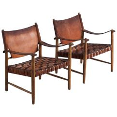 Leather Safari Chair Cover Rentals Near Paterson Nj Chairs In Beautifully Patinated Cognac For