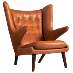 Papa Bear Chair Attach To Stool Lounge By Hans J Wegner In Cognac Leather