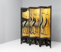 Large Folding Screen with Decorative Panels in Gold Leaf
