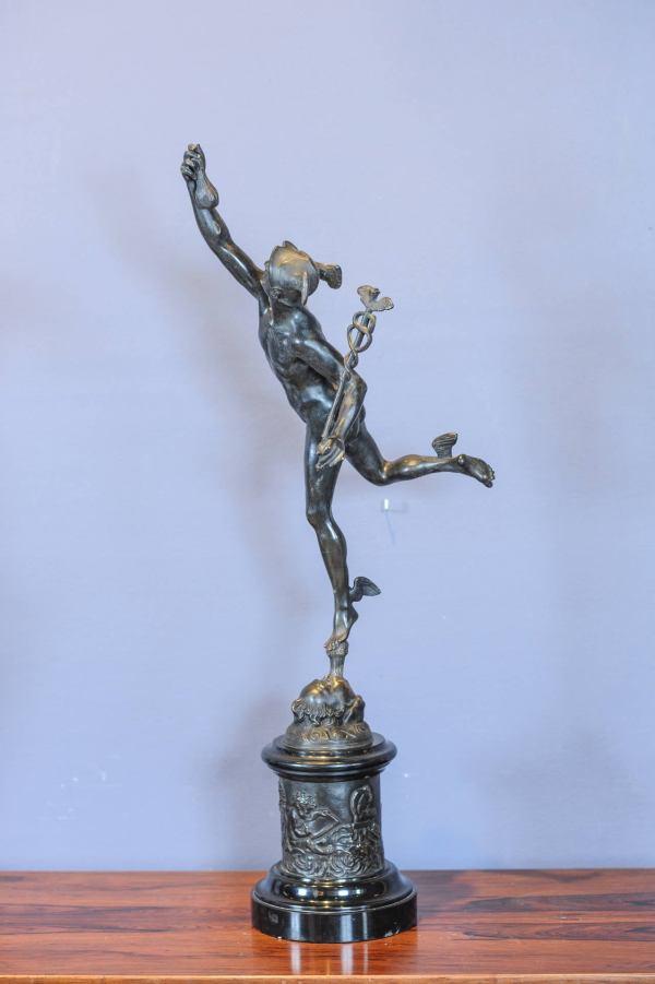 Large Patinated Bronze Sculpture Of Hermes Mercury