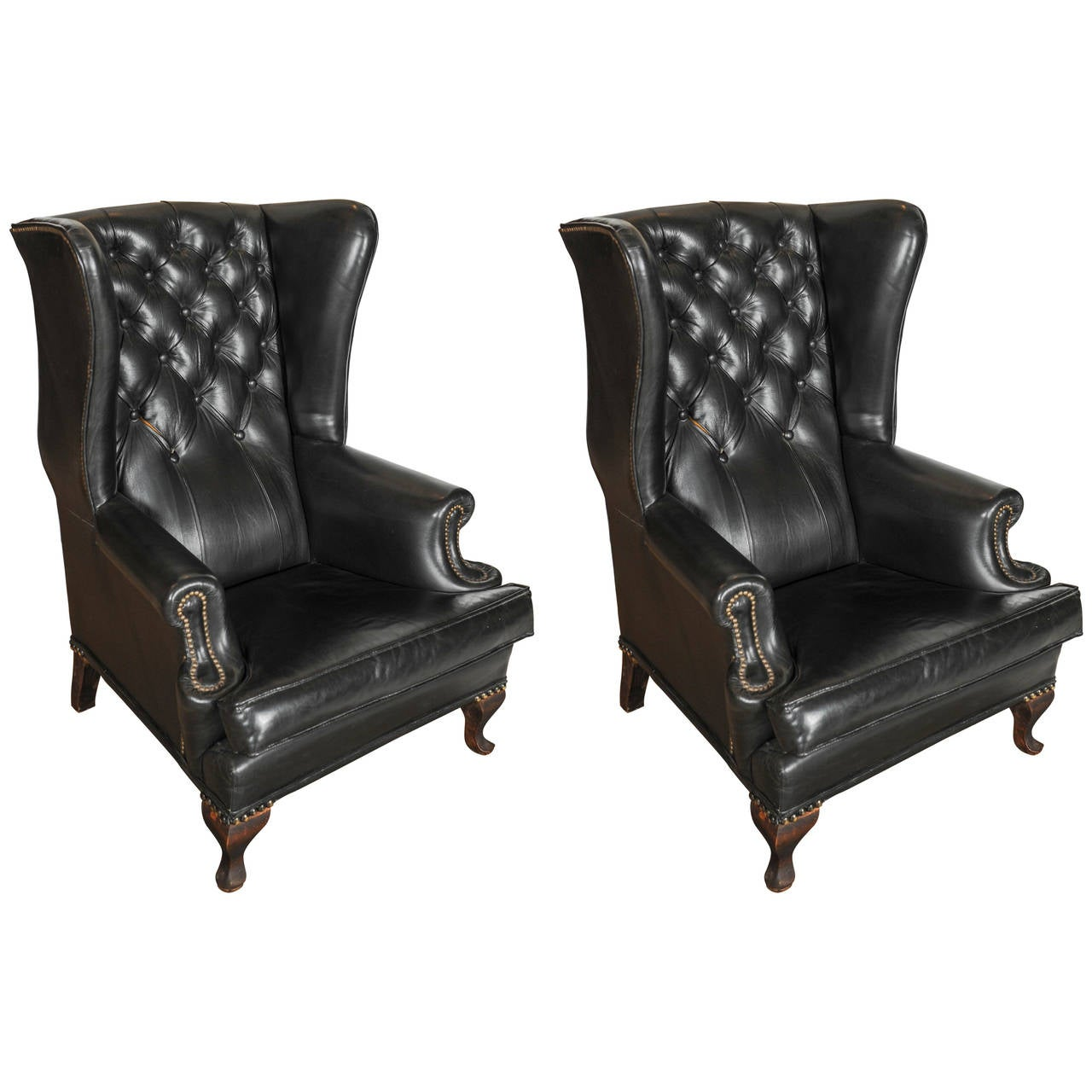 French Club Chair A Pair Of Early 20th C French Black Leather Upholstered