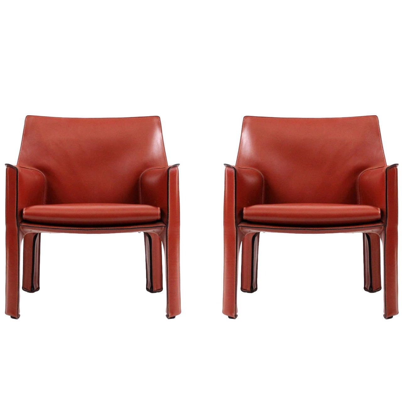 mario bellini chair bicycle exercise machine pair of cab lounge chairs by for cassina at