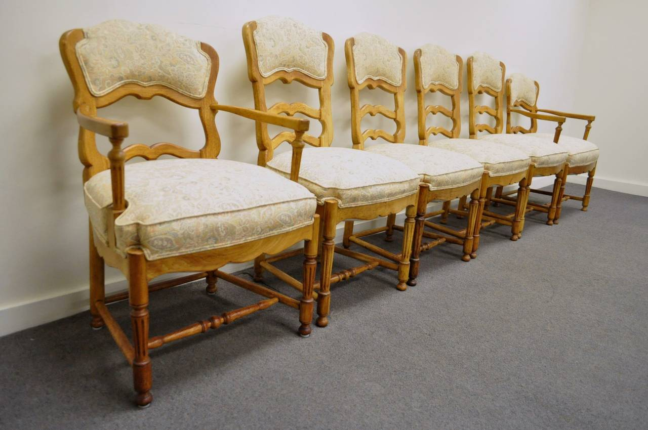 ladder back dining chairs french country high leather uk six style carved and upholstered