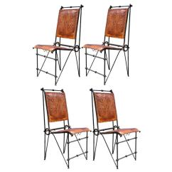 Set Of 4 Chairs For Less Iron And Tooled Leather Brutalist Dining Attributed After Ilana Goor Sale