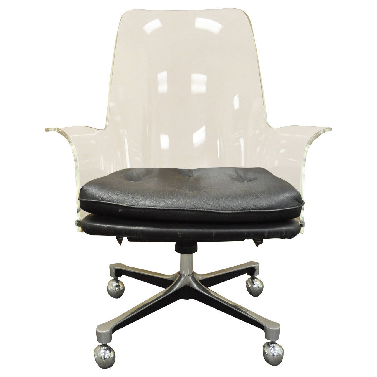 Acrylic Desk Chair 1960s Sculpted Lucite Swivel Desk Chair After Vladimir