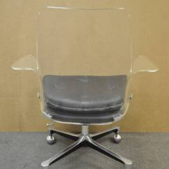 Clear Acrylic Swivel Office Chair Totoro Bean Bag 1960s Sculpted Lucite Desk After Vladimir