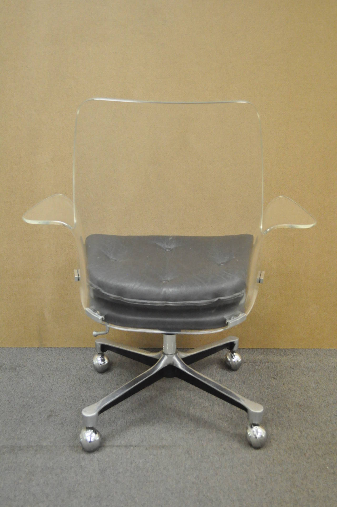 Acrylic Chair 1960s Sculpted Lucite Swivel Desk Chair After Vladimir