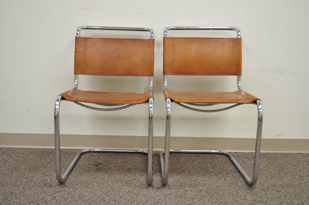 leather chrome chair lifts for seniors pair of mr brown and chairs attributed to mies van der rohe sale