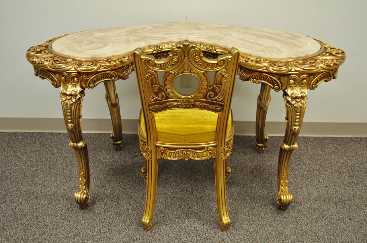 Gold Vanity Chair French Baroque Style Gold Gilt Vanity Or Desk With Chair