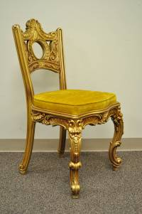 French Baroque Style Gold Gilt Vanity or Desk with Chair ...