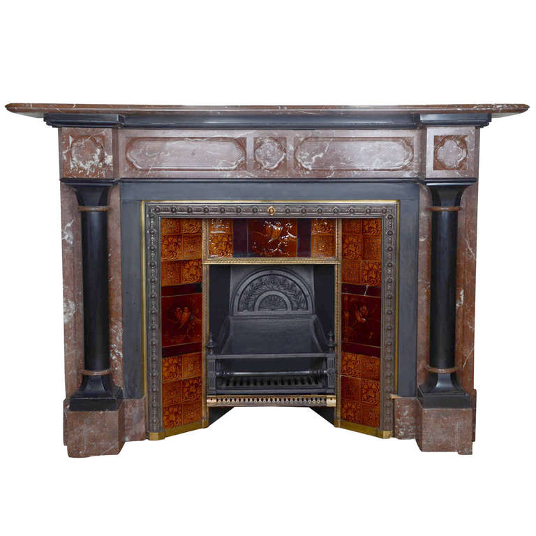 Antique Victorian Gothic Revival Rouge Royal Marble Fireplace at 1stdibs