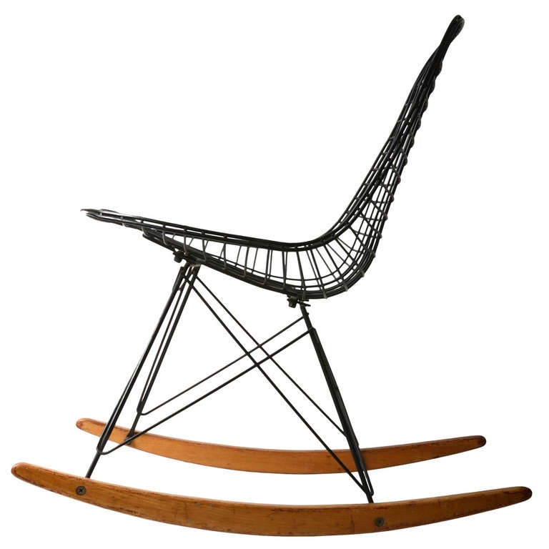mid century modern rocking chair canada low back eames wire rocker at 1stdibs