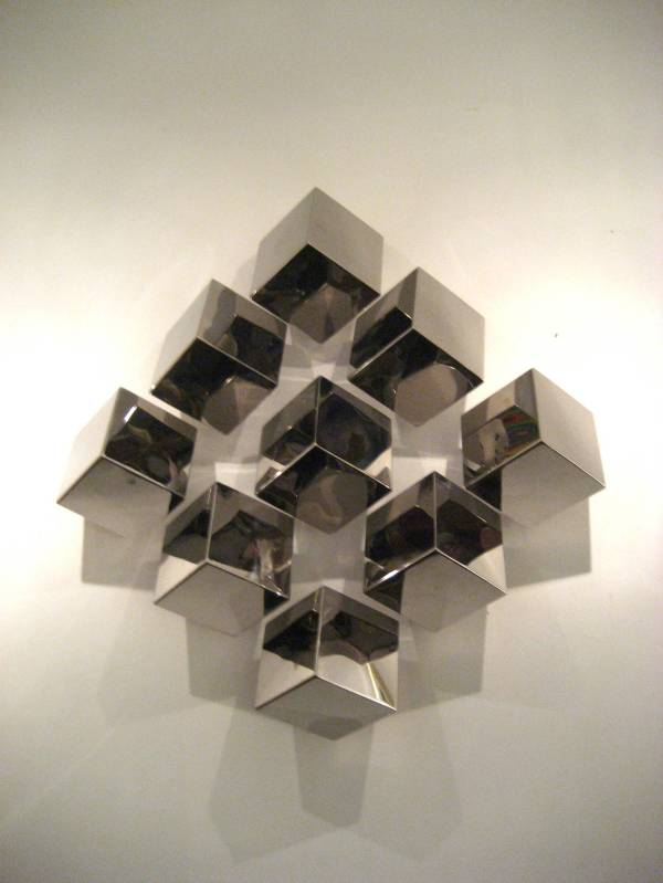 Contemporary Nickel-plated Multicubes Large Wall