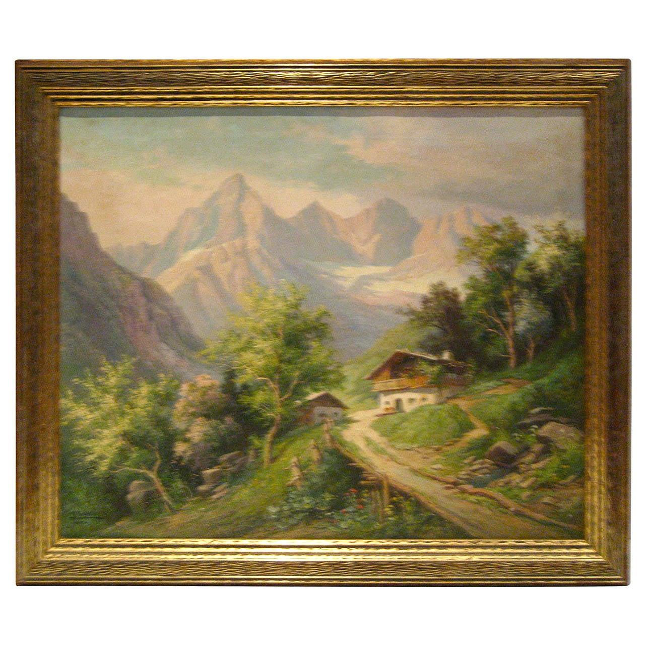 Realism Austrian European Landscape By Listed Artist Karl