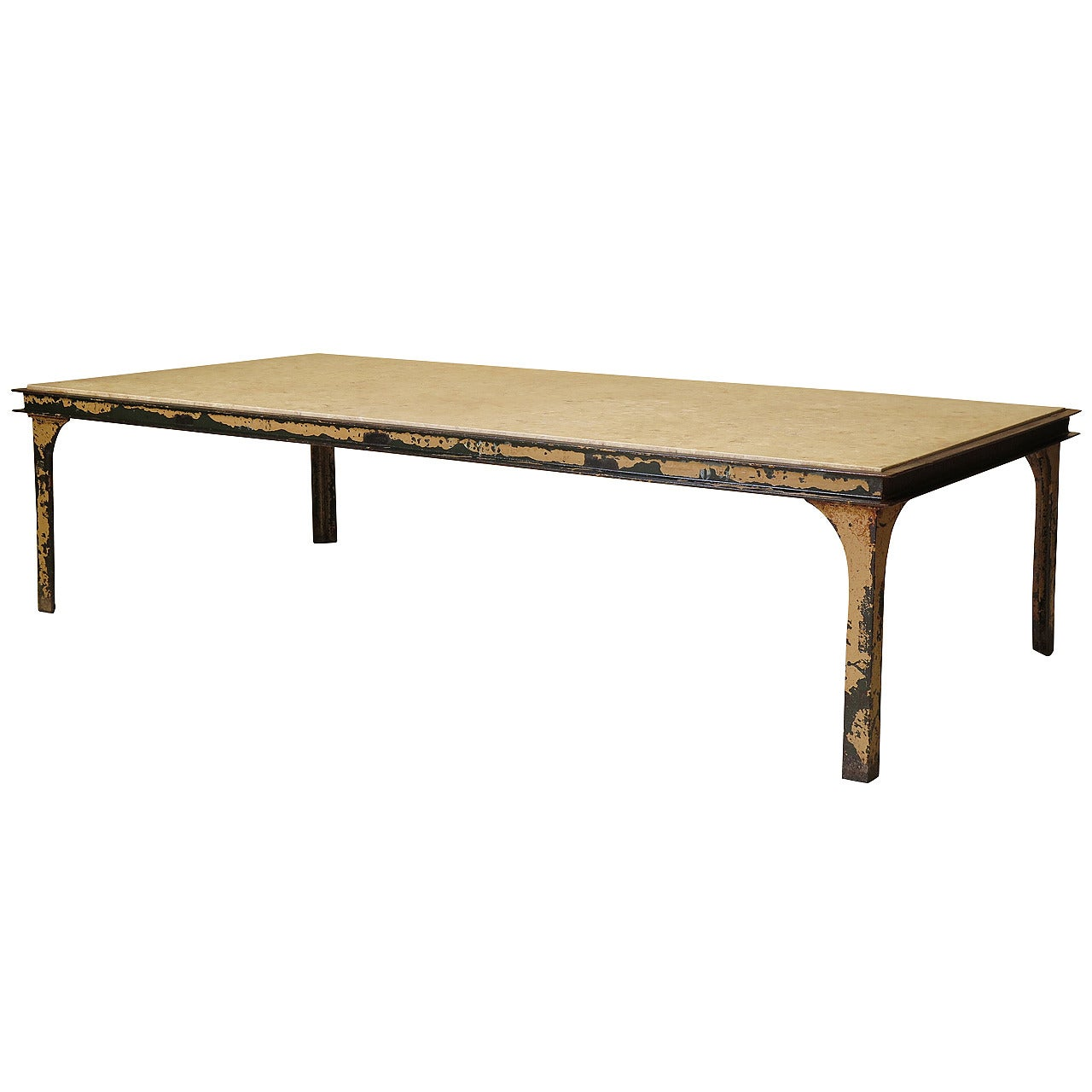 large iron stone coffee table france 1950s