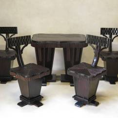 Unusual Dining Chair Patio Slipcovers Art Deco Table And Set France 1930s For