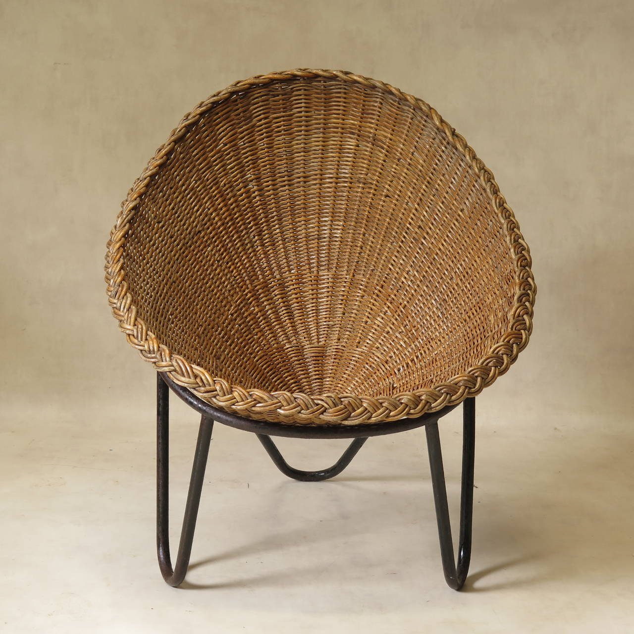 Egg Shaped Wicker Chair Wicker And Iron Lounge Chair France 1950s For Sale At