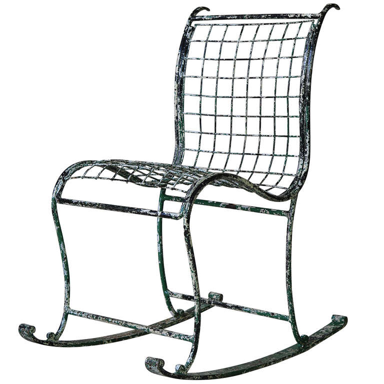 1920s rocking chair yoga headstand unique wrought iron france at 1stdibs for sale