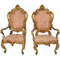 Italian Giltwood Throne Chairs at 1stdibs