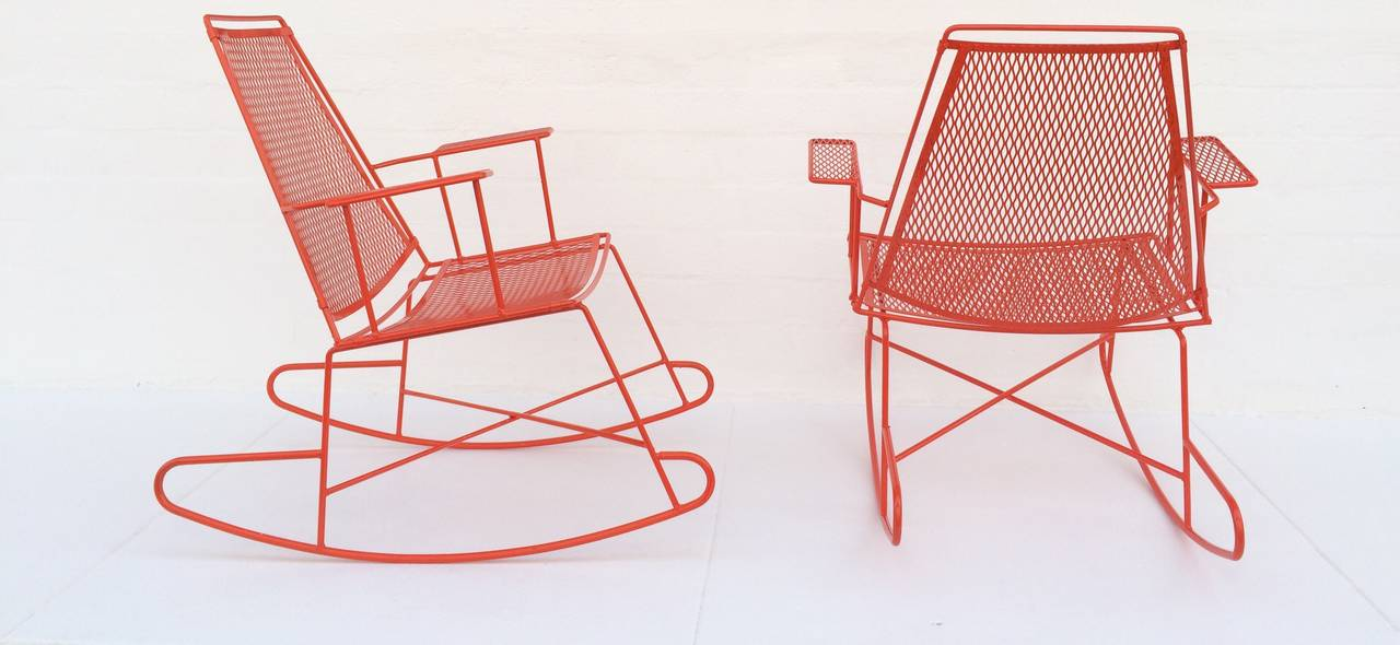 Rare Pair Of Salterini Rockers With A Side Table At 1stdibs