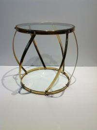Polished Brass and Glass Drum Side Table at 1stdibs
