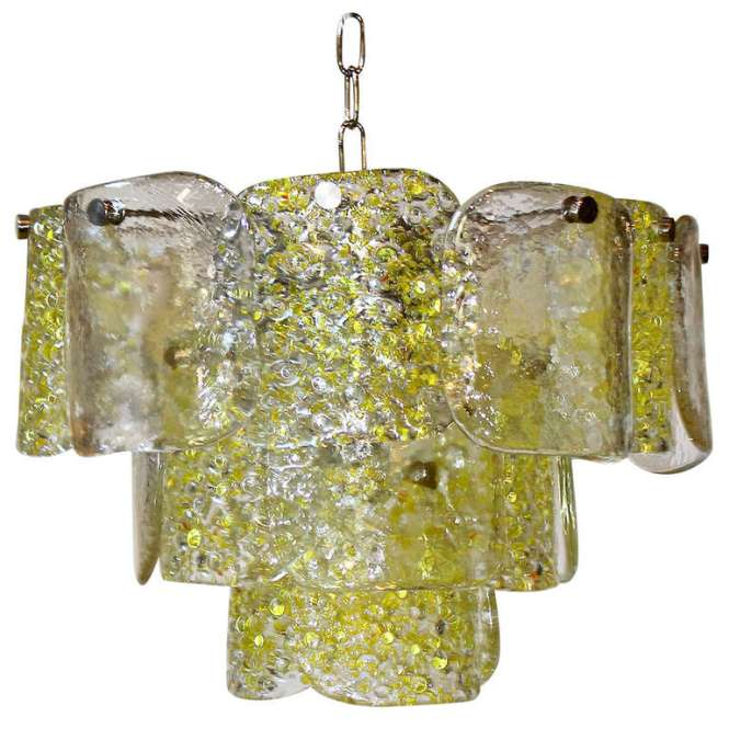 Camer Murano Yellow And Clear Textured Panel Glass Chandelier For