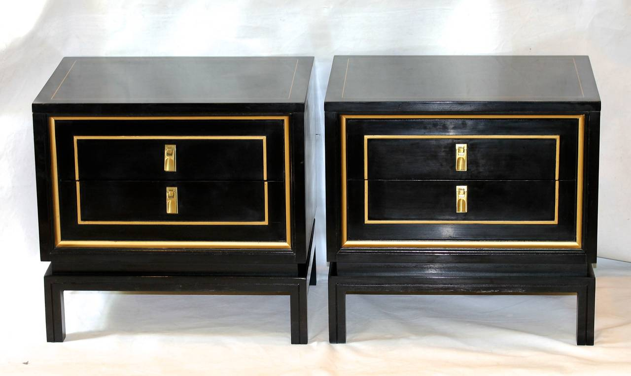 Pair American Martinsville Black Lacquered Night Stands At