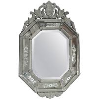 Italian Venetian Etched Glass Wall Mirror For Sale at 1stdibs