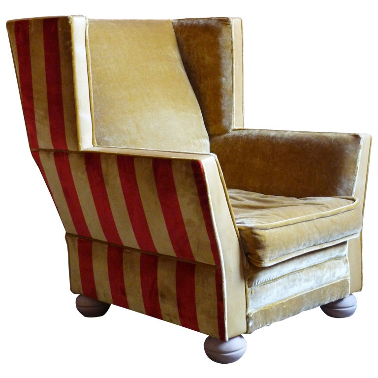 sam s club upholstered chairs slim recliner art deco wing chair, 1920's belgium at 1stdibs