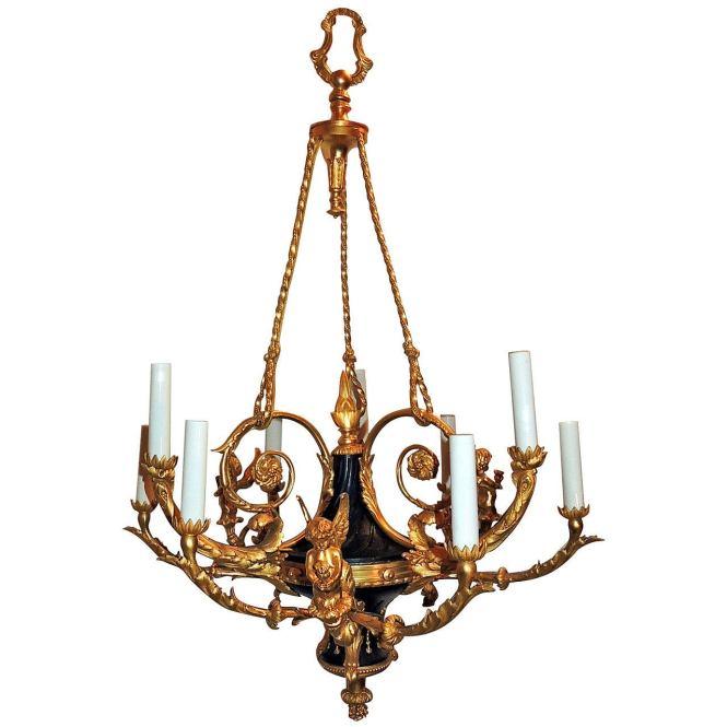 French Empire Dore Bronze Marble 9 Light Cherub Putti Neoclassical Chandelier For