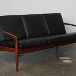Percival Lafer Sofa Gold Williams Solid Rosewood And Black Leather By Kai Kristiansen ...