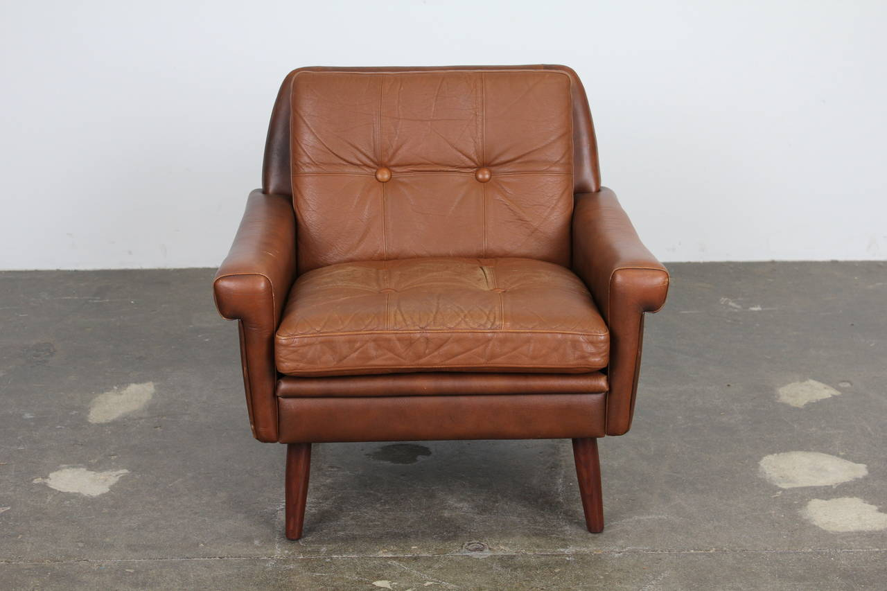 leather slipper chair chocolate table and two chairs set danish modern brown by skipper mobler at 1stdibs