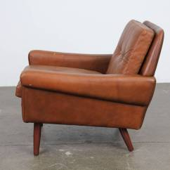 Modern Leather Lounge Chair Antique Baby High Danish Brown By Skipper Mobler At 1stdibs