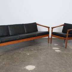 Dux Sofa By Folke Ohlsson Small With Round Chaise Solid Teak And Black Leather 3 Seat ...