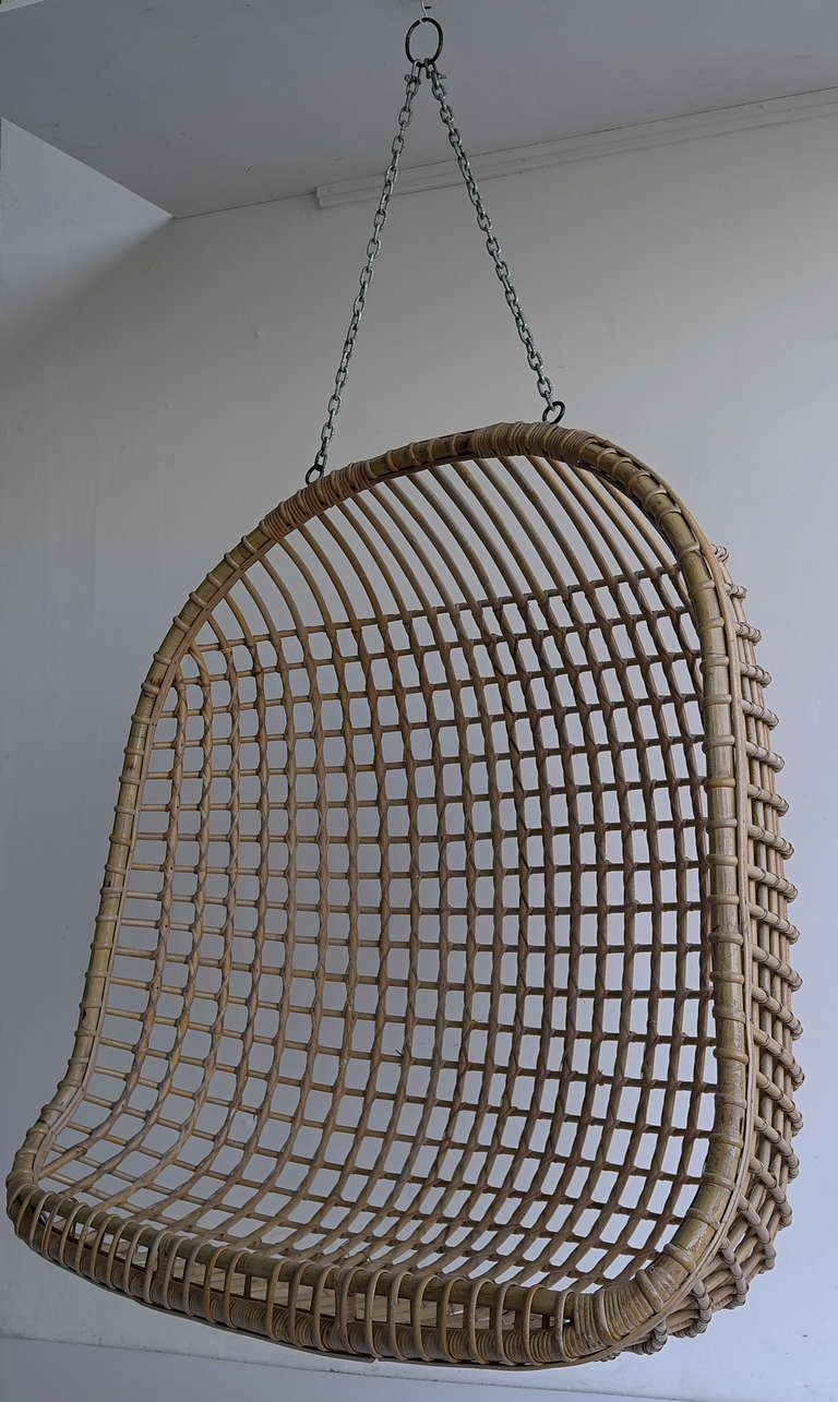 Egg Wicker Chair Rare Two Seat Rattan Hanging Egg Chair
