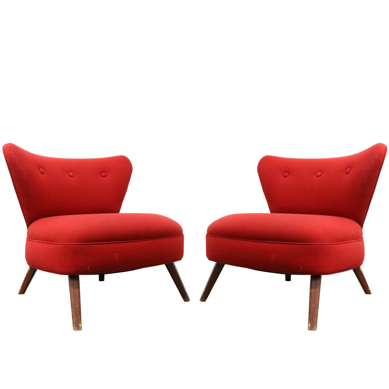 Red Slipper Chair Pair Of 1940s Red Wingback Slipper Chairs In The Style Of
