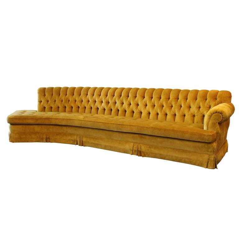 hollywood regency curved sofa mart landers road north little rock ar long tufted at 1stdibs