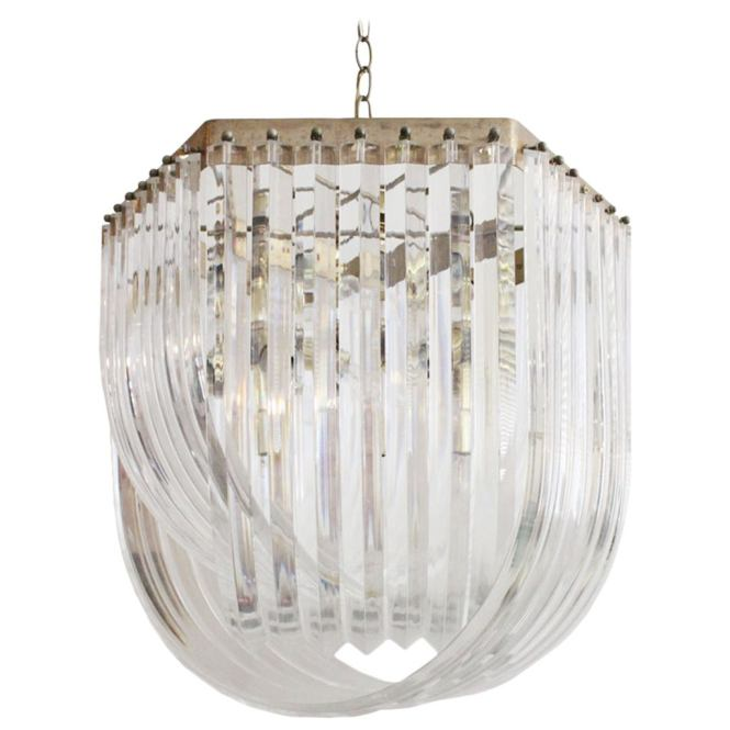 Large Lucite Ribbon Chandelier 1