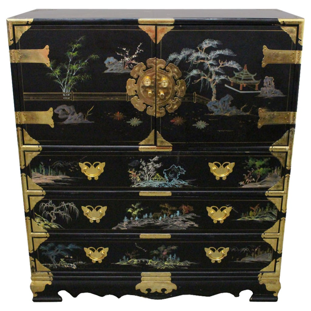 Hand Painted Asian Chest At 1stdibs