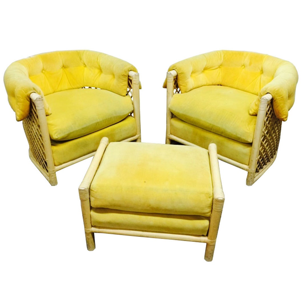 bamboo chairs for sale rigby accent chair and ottoman pair of at 1stdibs