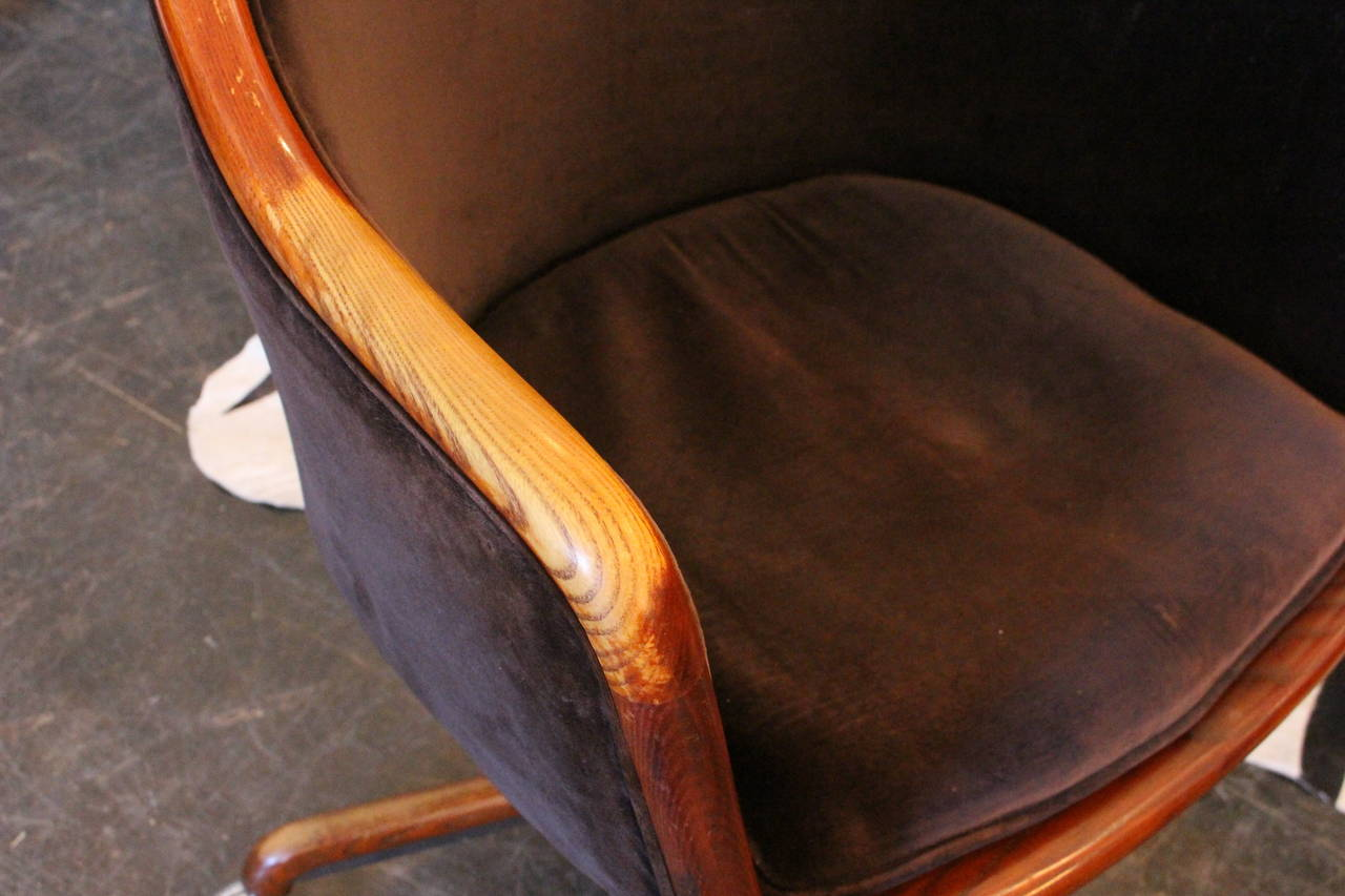 Velvet Desk Chair 1970s Velvet Desk Chair By Ward Bennett At 1stdibs