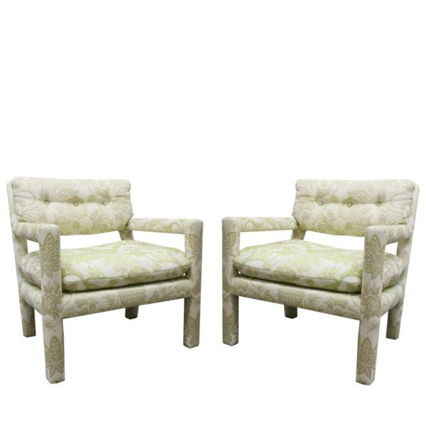 Pair of Open-Arm Parson Style Chairs in the Style Milo Baughman at 1stdibs