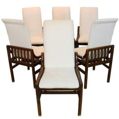 Henredon Asian Dining Chairs Pre Owned Tables And Set Of Six In Walnut At 1stdibs