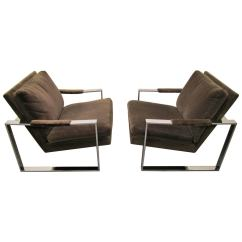 Milo Baughman Chair Swing Garden Uk Fabulous Pair Of Chrome Cube Lounge Chairs