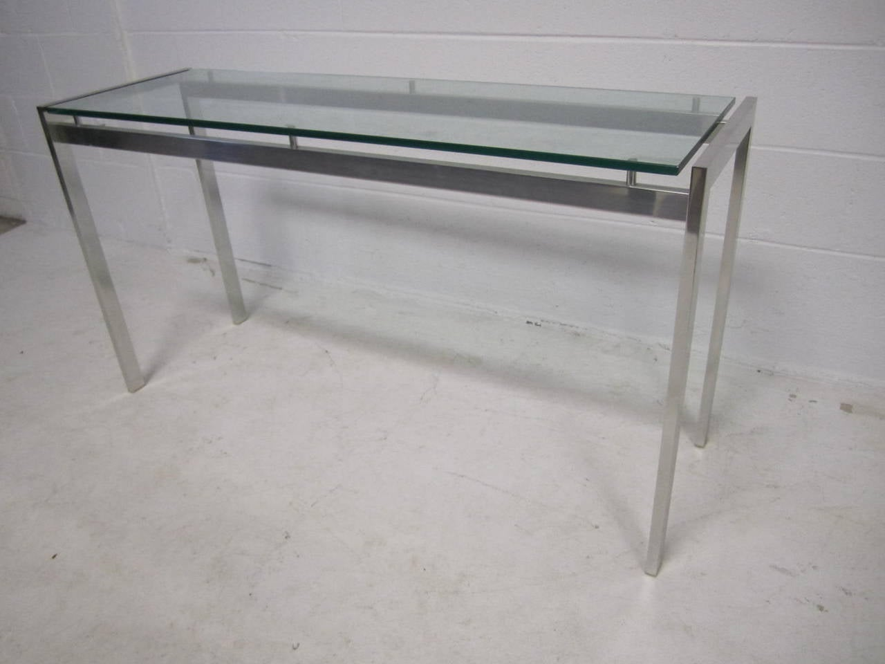 70 inch long sofa table ebay corner bed sale 1970s polished aluminum mid century modern console
