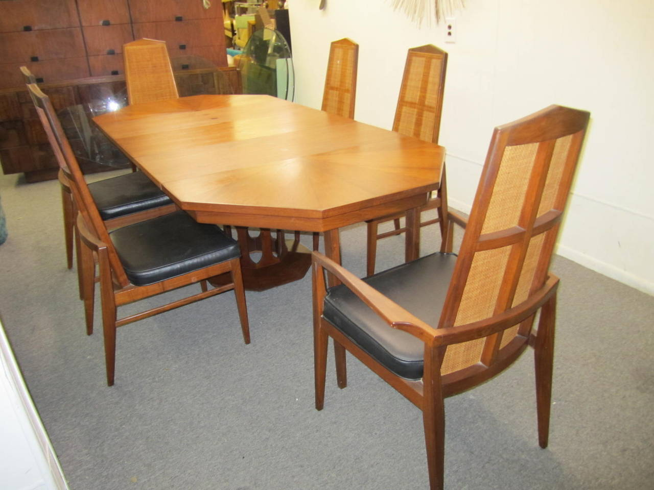 cane dining chairs for sale lounge cheap six walnut foster and mcdavid back mid