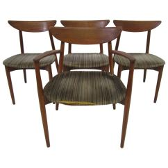 Danish Dining Chair Desk Vancouver Set Of Four Harry Ostergaard Teak Modern